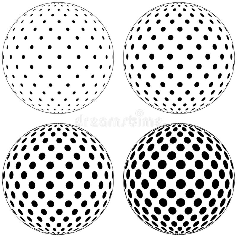 Set of 3D globe ball, dots circles pattern on the surface of the sphere, vector polka dot pattern on the surface of the ball stock illustration