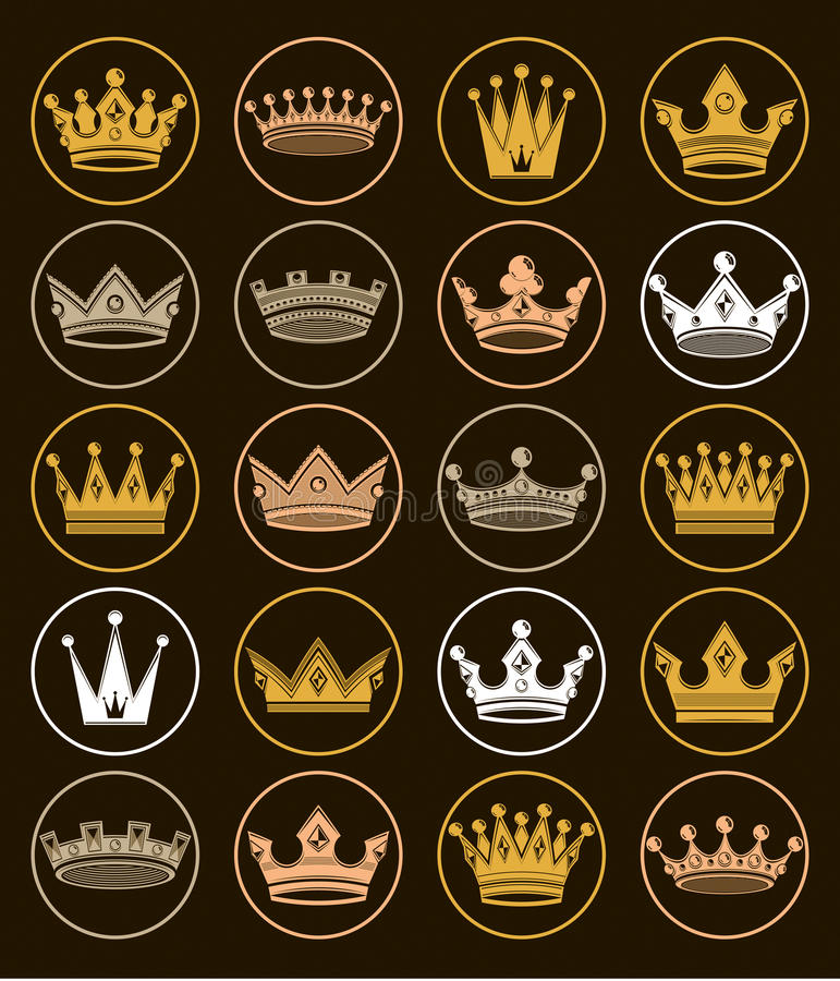 Set of 3d golden royal crowns isolated. Majestic classic symbols. Coronet collection. Web and graphic elements royalty free illustration