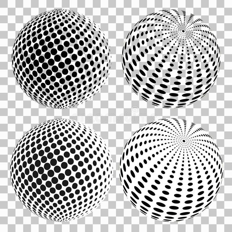 Set of 3D halftone dots spheres, on isolated transparent background. Vector elements for your design. Eps 10 royalty free illustration