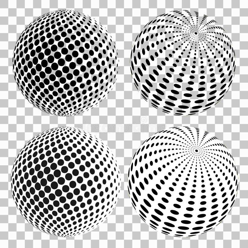 Set 3D halftone kropkuje sfery, na odosobnionym przejrzystym tle elementy projektów widzą podobne wizyty nosicieli na miejsce moj royalty ilustracja
