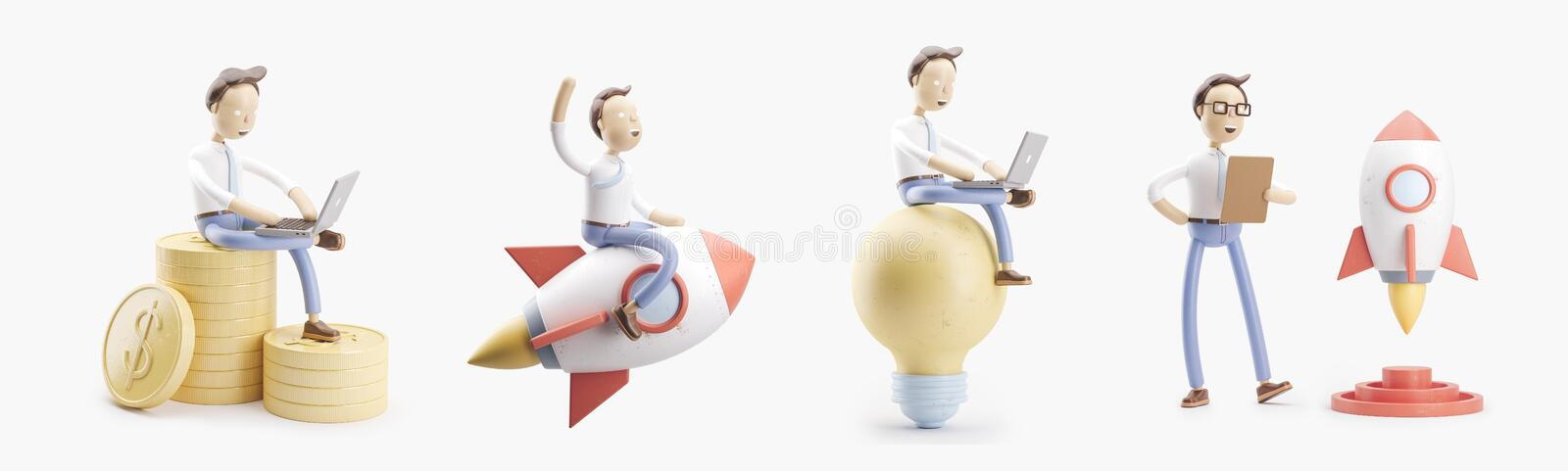 Cartoon character flies on a rocket into space. set of 3d illustrations. concept of creativity ind startup. royalty free illustration