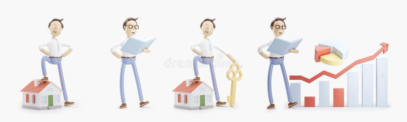 Cartoon character stands with a book, small house, key and infographics. set of 3d illustrations royalty free illustration