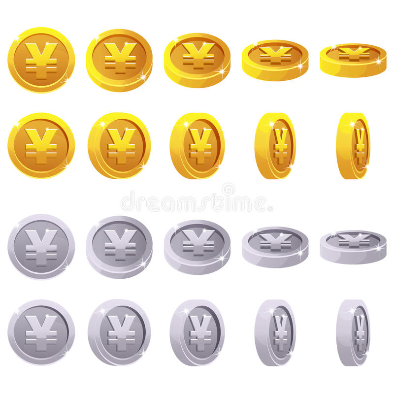 Set of 3D metallic yen coin yuan symbol, vector animation game rotation stock illustration