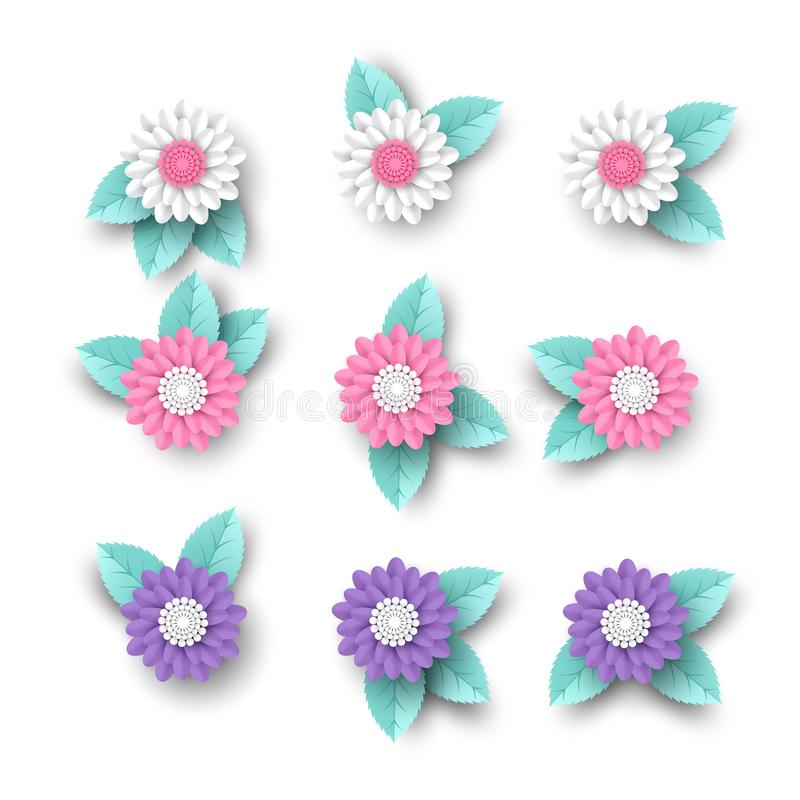 Set of 3d paper cut flowers with leaves. Decorative elements greeting cards, backgrounds. White, pink and violet colors vector illustration