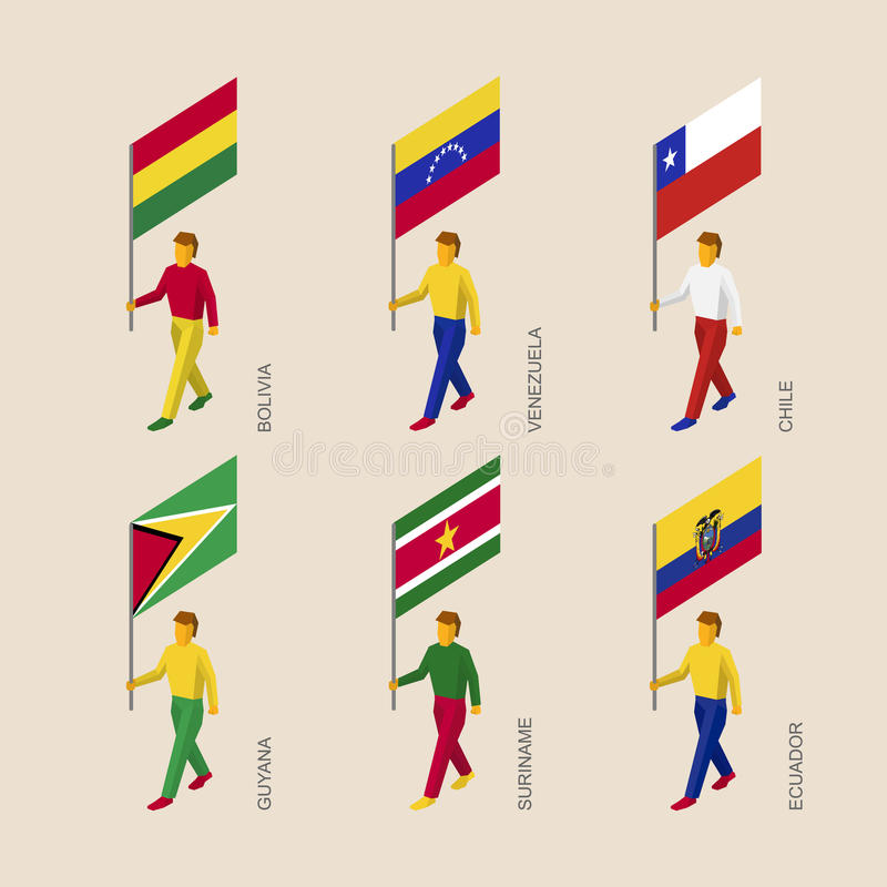 Set of 3d people with flags of South America countries stock illustration