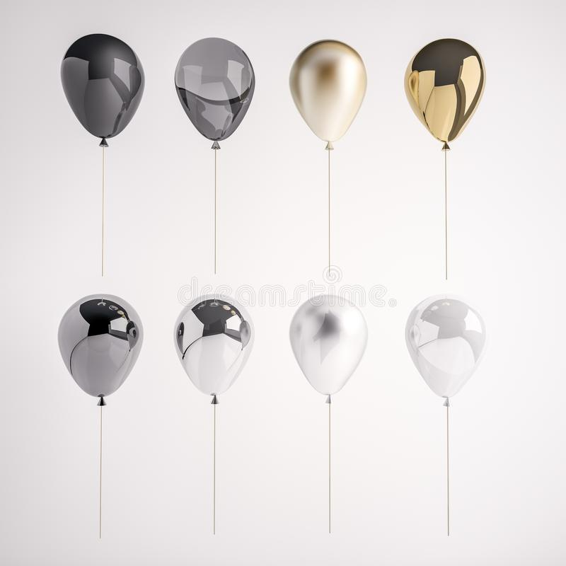 Set 3D realistyczni balony na kiju dla przyjęcia, wydarzenia, prezentacja lub inny p glansowani i atłasowi czarni, biali, złoci,  royalty ilustracja