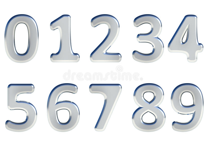 Set of 3D rendered numbers, 0-9. Silver glossy color on white background for easy use. stock illustration