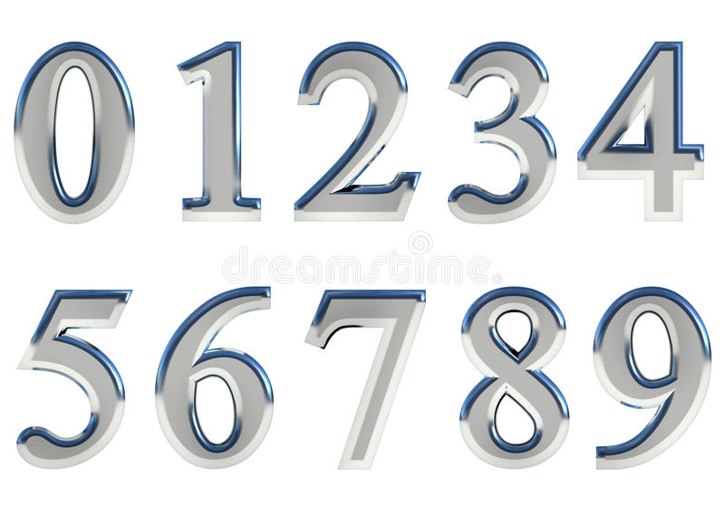 Set of 3D rendered numbers, 0-9. Silver glossy color on white background for easy use. royalty free illustration