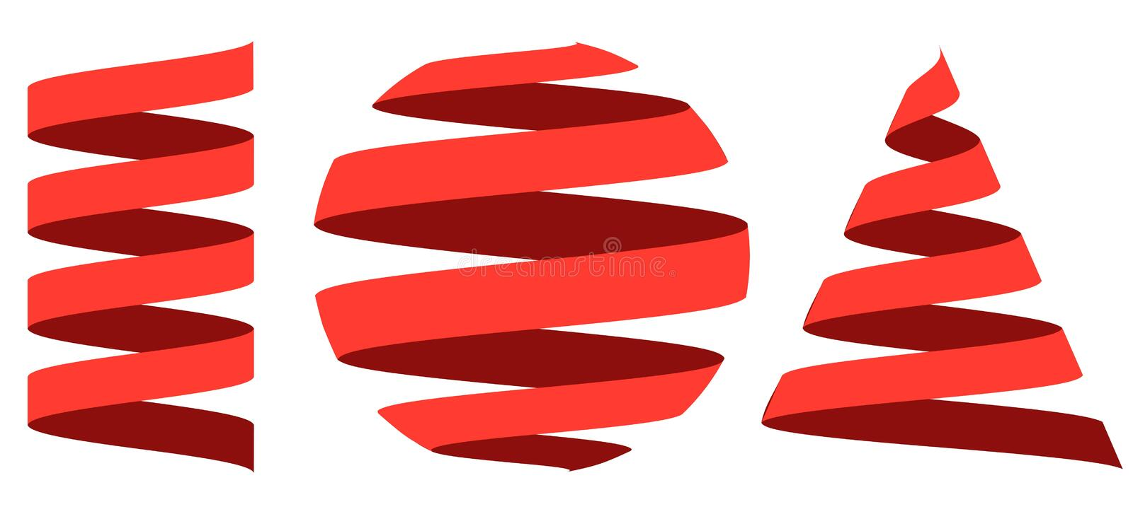 Set 3D ribbon strip, centered on the geometric shapes sphere royalty free illustration