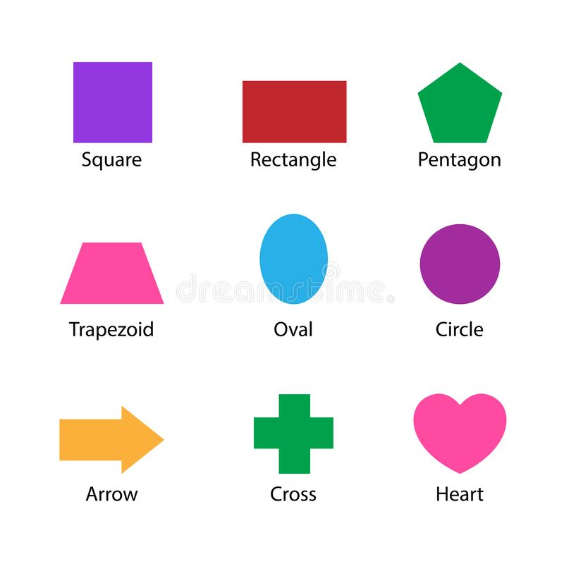 Set of 2D shapes vocabulary in english with their name clip art collection for child learning, colorful geometric shapes flash. Card of preschool kids, simple stock illustration