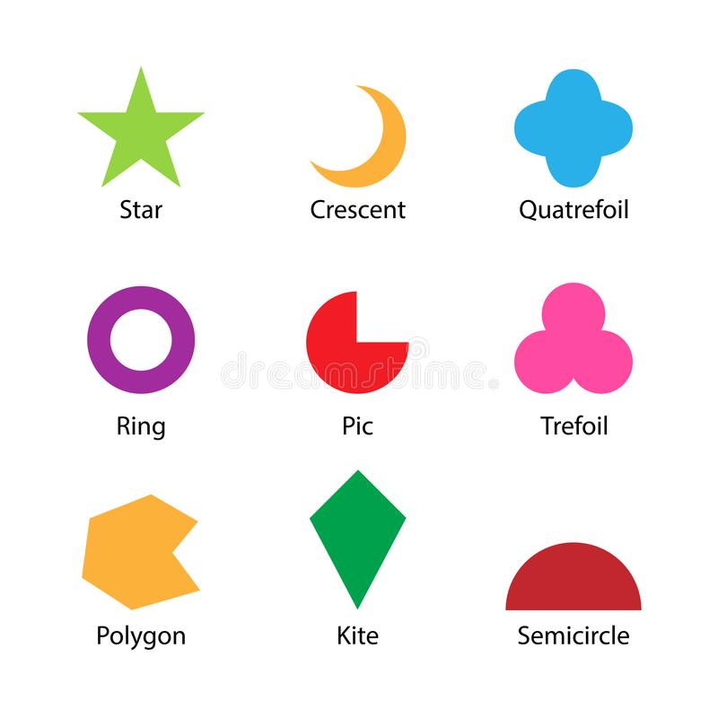 Set of 2D shapes vocabulary in english with their name clip art collection for child learning, colorful geometric shapes flash. Card of preschool kids, simple royalty free illustration
