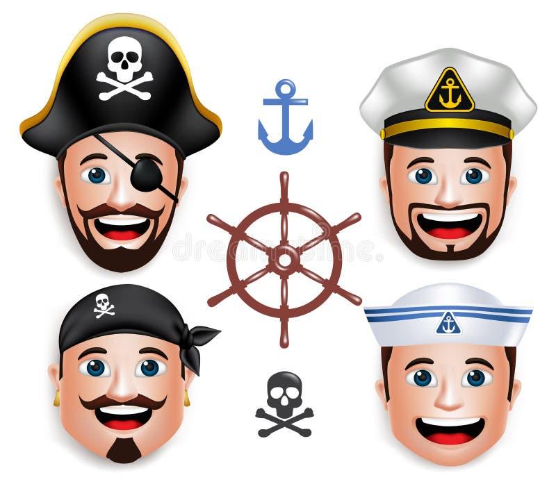 Set 3D twarzy Realistyczna głowa mężczyzna żeglarzi jak piraci ilustracja wektor