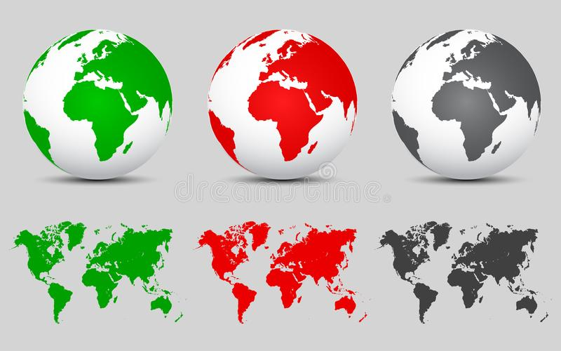 Set 3D Vector Globes with World Maps. For stock royalty free illustration