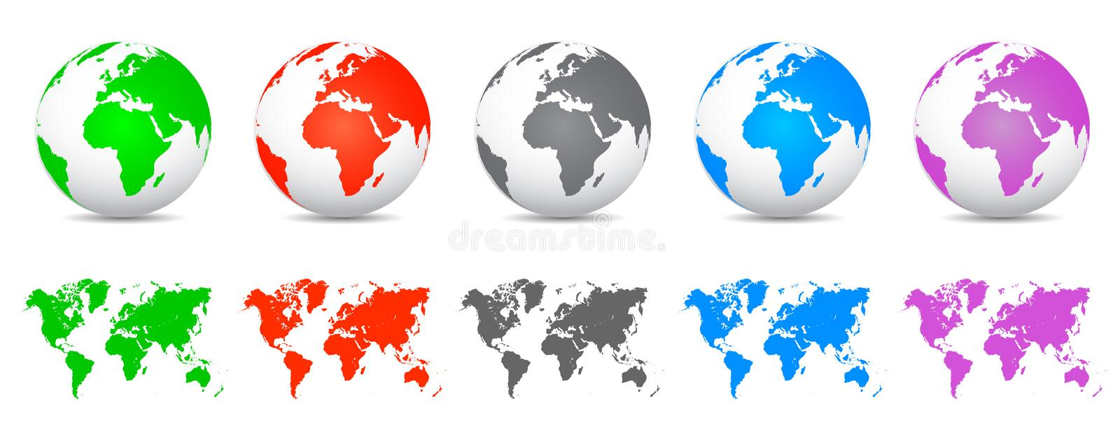 Set 3D Vector Globes with World Maps - vector. Set 3D Vector Globes with World Maps - stock vector stock illustration
