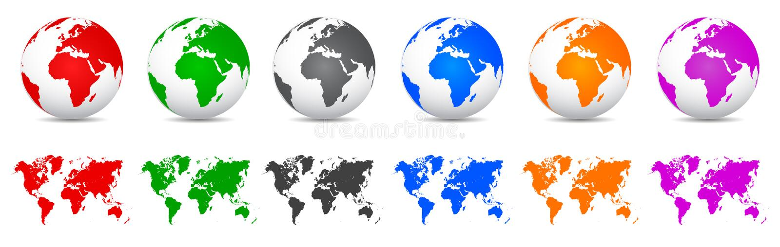 Set 3D Vector Globes with World Maps - vector. Set 3D Vector Globes with World Maps – stock vector vector illustration