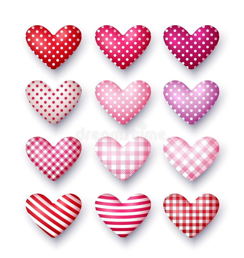 Set of 3d vector hearts for Valentine`s day. royalty free illustration