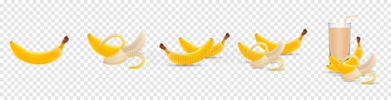 Set of 3d vector realistic illustration bananas. Banana, half peeled banana, banana juice isolated on transparent vector illustration