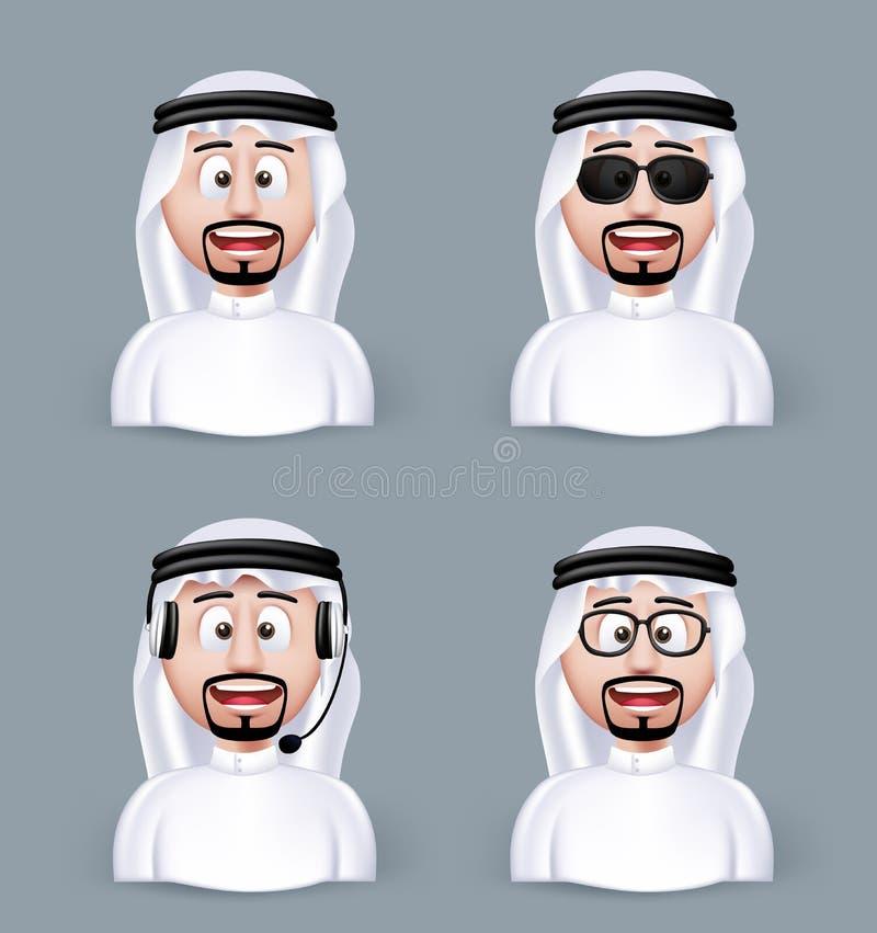 Set 3D wymiaru Arabski mężczyzna w Różnym profesjonaliście ilustracja wektor