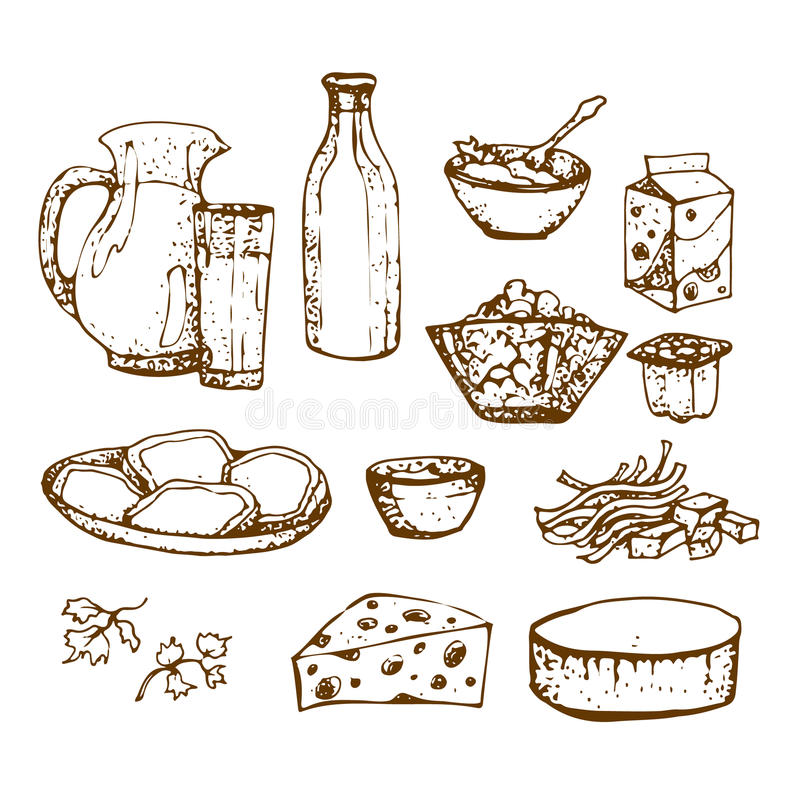 Set of dairy products hand drawn, sketches foods. Icons cooking. to design menus, books of recipes, packaging, parts for coloring. isolated vector. vintage vector illustration