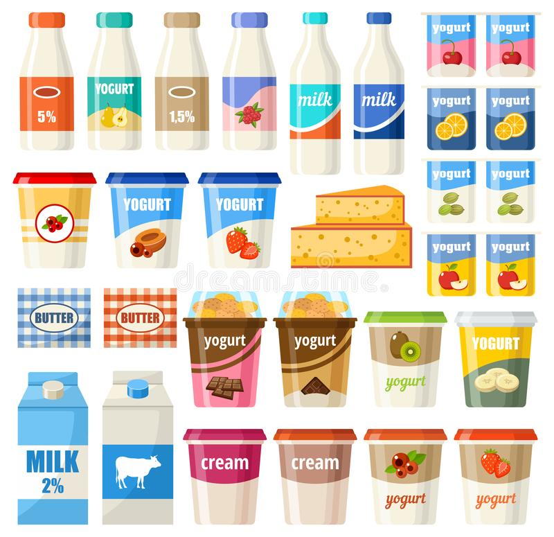 Set of dairy products royalty free illustration