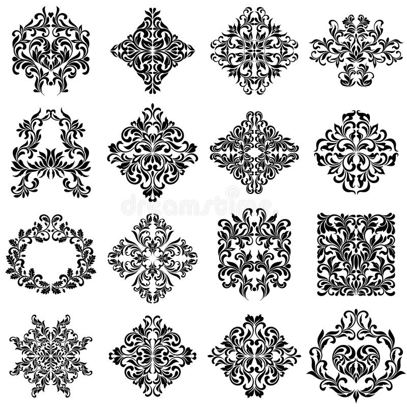 Set of damask ornaments for design use. Elegant floral and vintage elements. Embellishments isolated on white background. stock illustration