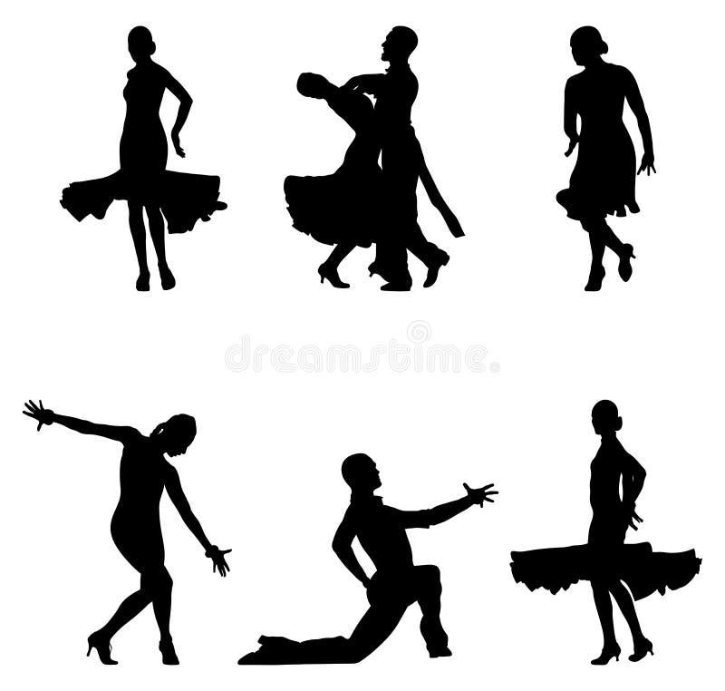 Set dancers black silhouettes. Sports ballroom dancing vector illustration