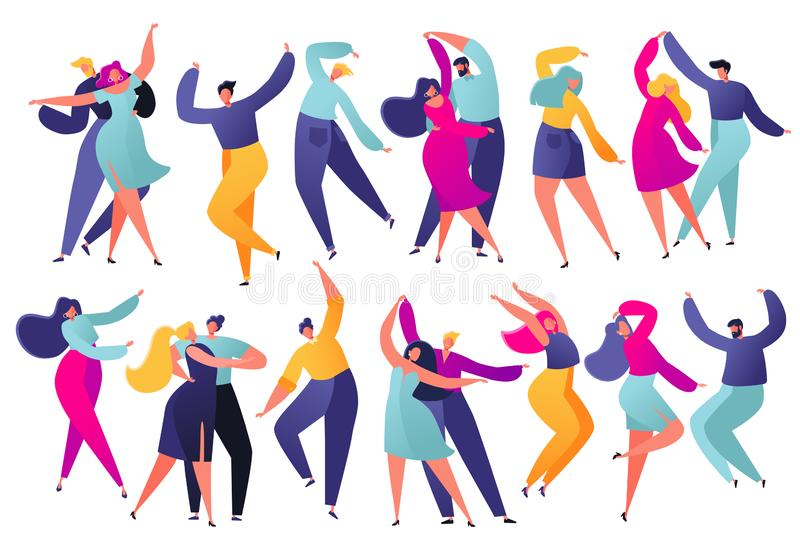 Set of young happy dancing people. Party dancer character male and female isolated on white background. Young men and women enjoying dance party. Colorful vector illustration