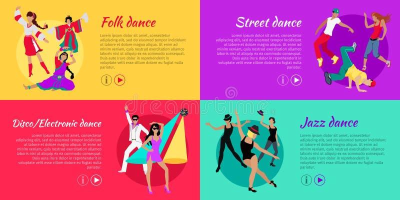 Set Dancingowi Wektorowi sieć sztandary w Płaskim projekcie ilustracja wektor