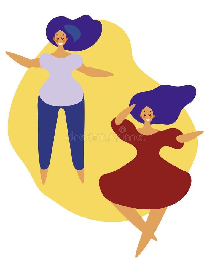 Set dancingowych dziewczyn płaski projekt r?wnie? zwr?ci? corel ilustracji wektora ilustracji