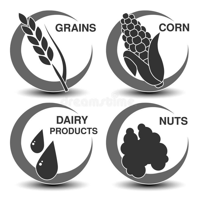 Set of dark grey allergen symbols. Icon of grains, corn, dairy products and nuts. Sign of food allergy in a circle. royalty free illustration