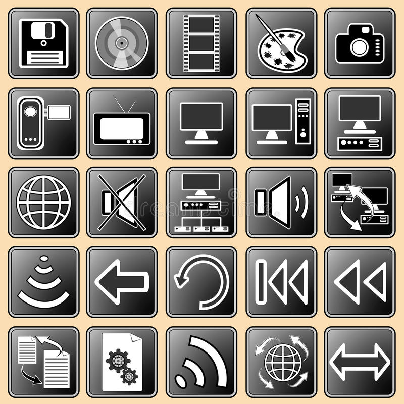 Free Set Darkly - White Buttons With Web Icons For The Stock Photo - 13386880