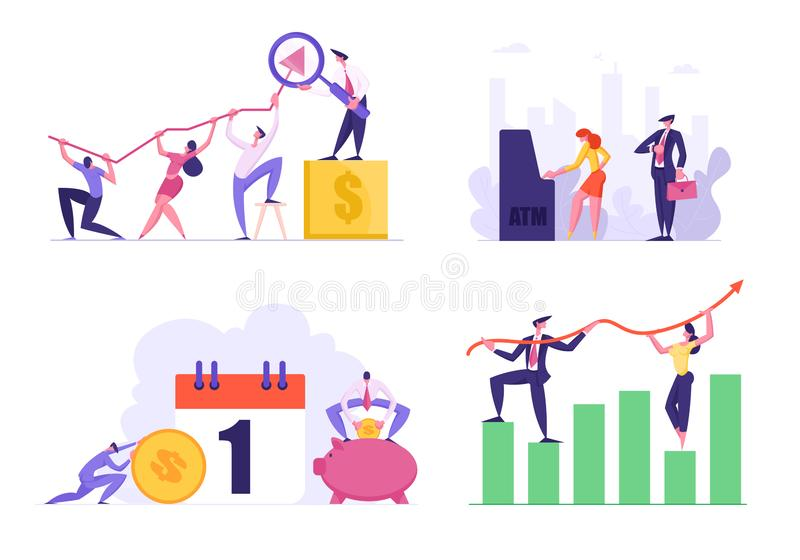 Set of Data Analysis Growth Charts, People Stand in Line Paying in ATM, Bank Loan and Tax Payment. Male and Female vector illustration