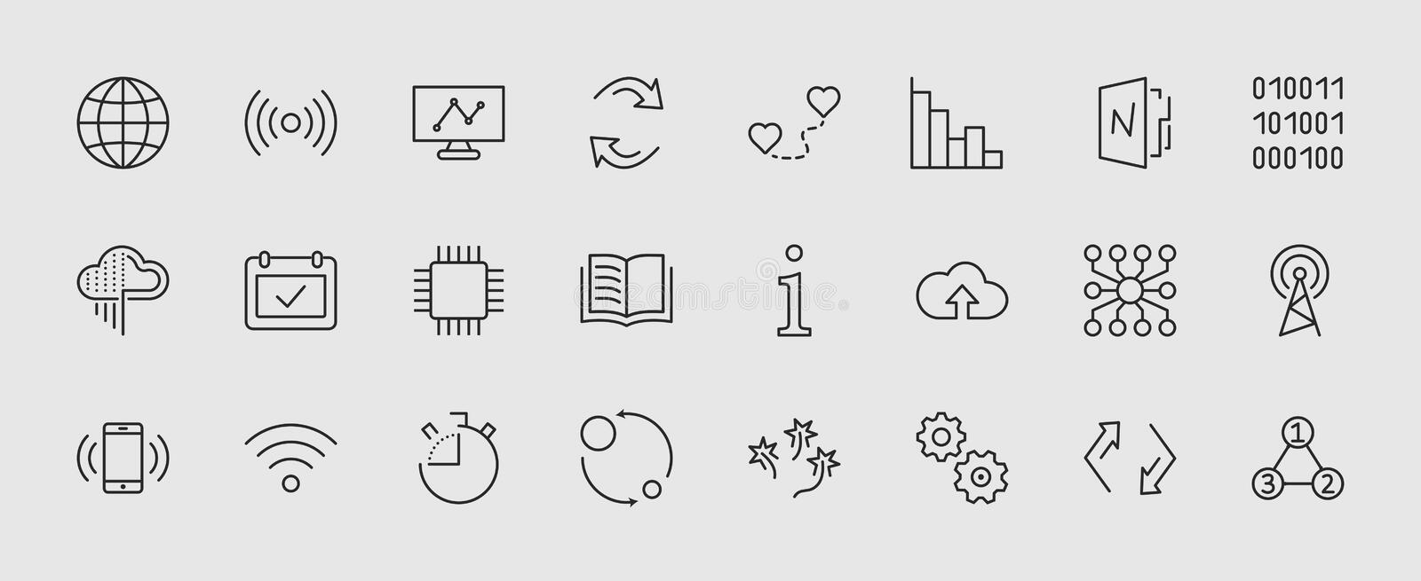 Set of Data Analysis Related Technology Vector Line Icons. Contains such Icons as Charts, Wi-fi, Graphs, Traffic. Analysis, Big Data and more. Editable Stroke royalty free illustration