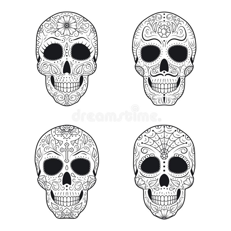 Set Day of The Dead Sugar Skulls with detailed floral ornament. Mexican symbol calavera collection. Hand drawn line vector illustration. Halloween decor royalty free illustration