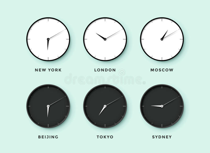 Set of day and night clock for time zones different cities. Black and white watch on a mentol background. Vector Illustration vector illustration