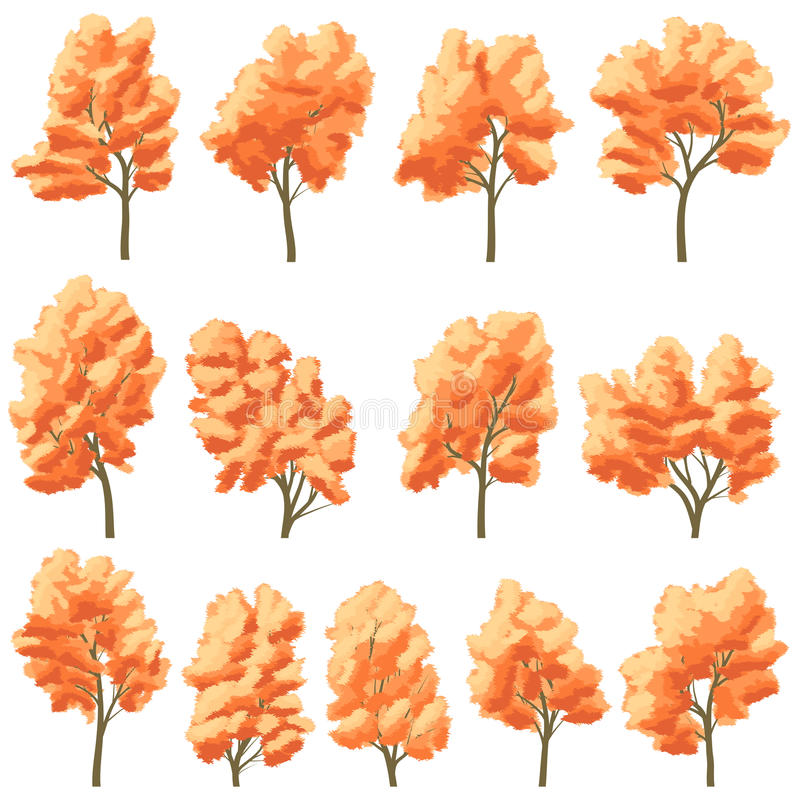 Download Set Of Deciduous Trees In Autumn. Stock Vector - Image: 31763275