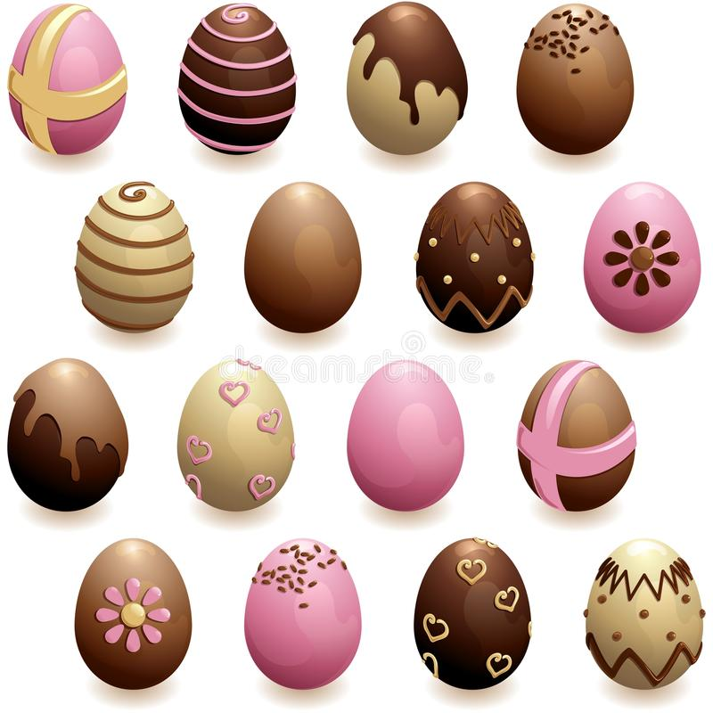 Set of decorated chocolate eggs royalty free stock images