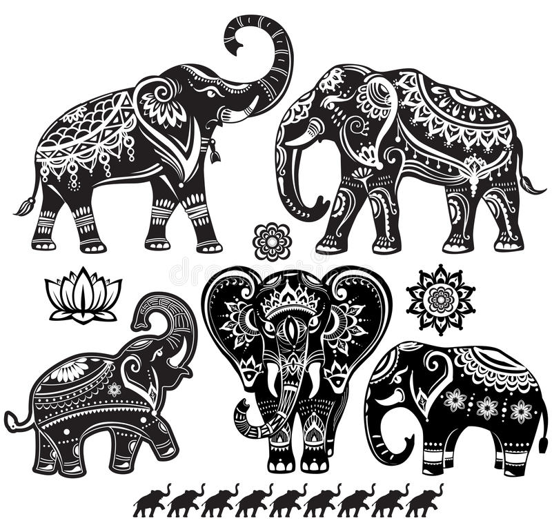 Set of decorated elephants. And lotus flower stock illustration