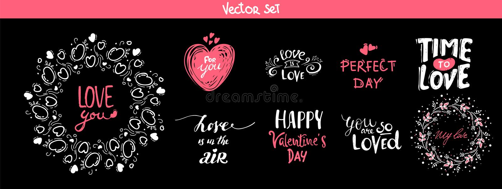 Set of decoration lettering elements for valentine day, vector illustration. Hand drawn February 14 labels or posters collection. Love lettering background royalty free illustration