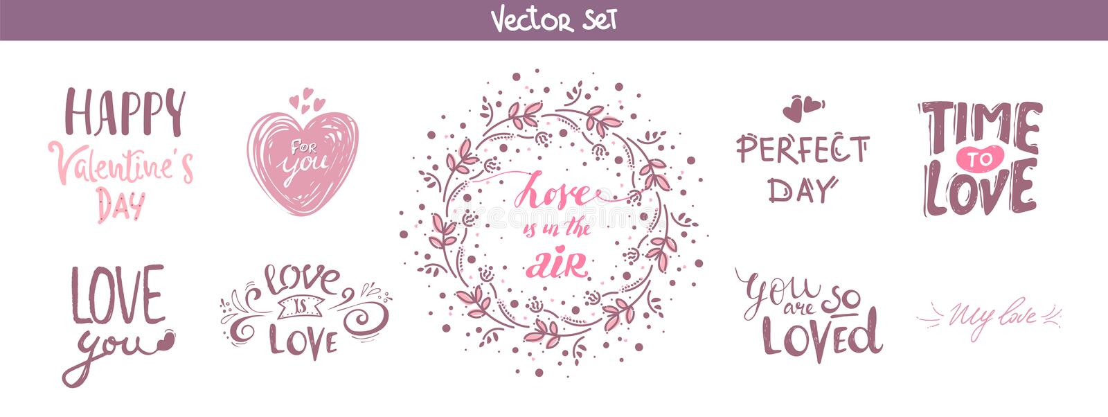 Set of decoration lettering elements for valentine day, vector illustration. Hand drawn February 14 labels or posters collection. royalty free illustration