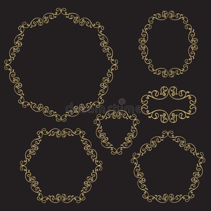 Set of decorative borders, line art filigree frames. In gold color on black background. For invitation, flayer, cover, greeting card, monogram royalty free illustration