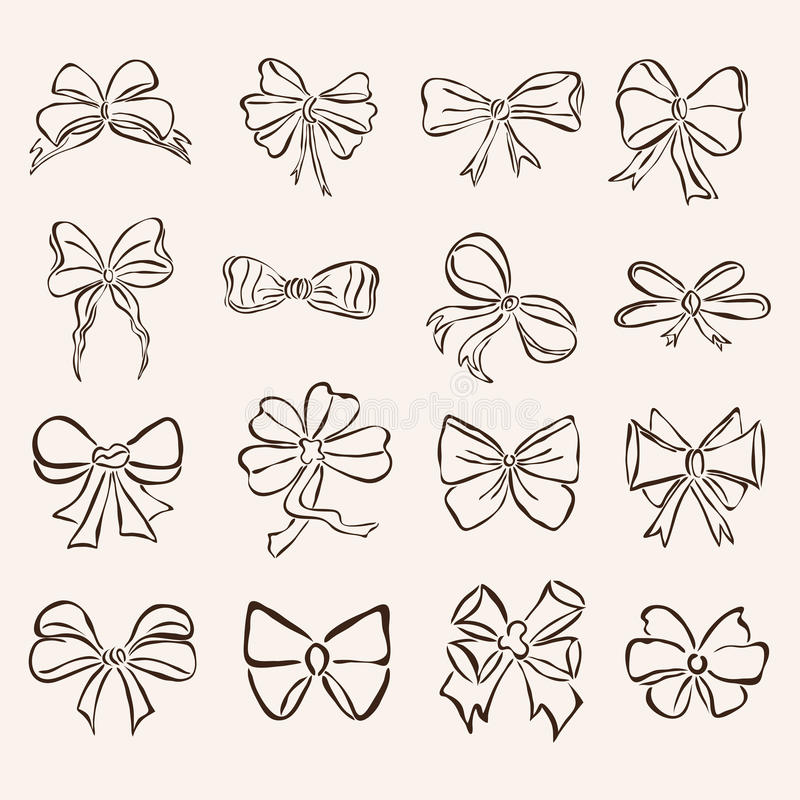 Set of 16 decorative bows. Set of 16 hand drawn decorative bows for your design royalty free illustration