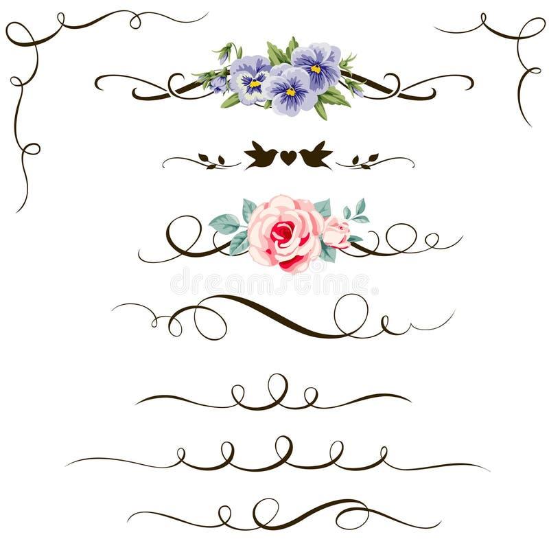 Download Set Of Decorative Calligraphic Floral Elements Vintage Flower Divider And Corner For Your