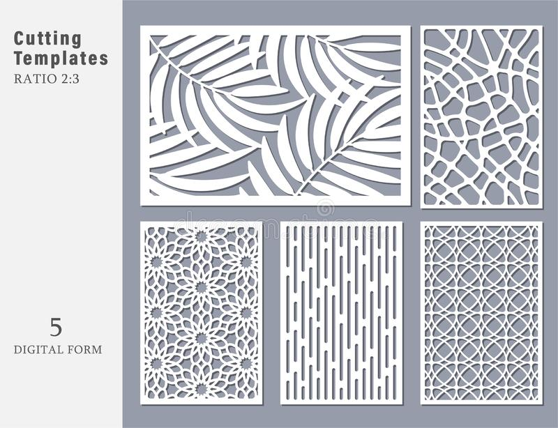 Set decorative card for cutting. Abstract geometric linear royalty free illustration