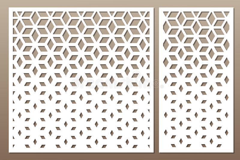 Set decorative card for cutting. Square pattern. Laser cut. Ratio 1:1, 1:2. Vector illustration. vector illustration