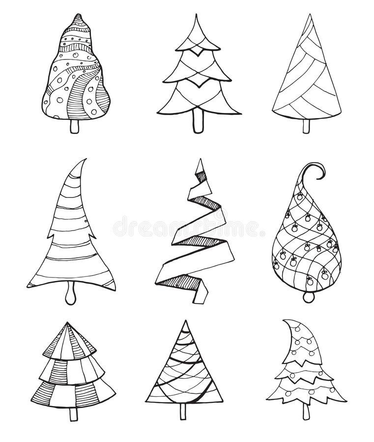Set of decorative Christmas trees. Vector illustration in sketch style vector illustration