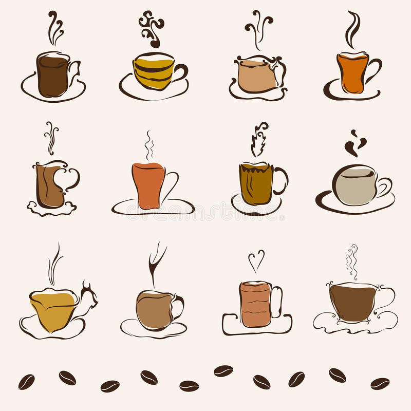 Set Of 12 Decorative Coffee Cups Stock Vector Illustration Of Latte Artwork 33221417