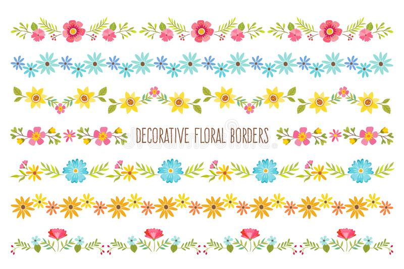 Set of decorative colorful Floral Borders vector illustration