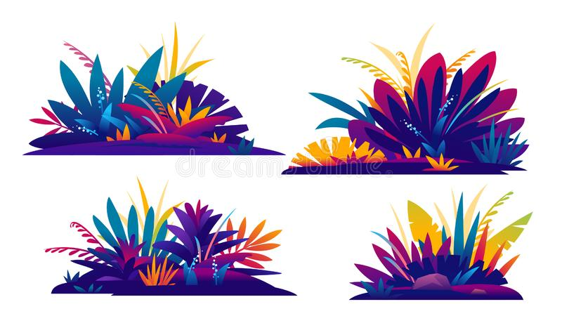 Set of decorative composition of jungle plants. Set of four decorative compositions of fantastic jungle plants in different colors on ground, composition of vector illustration