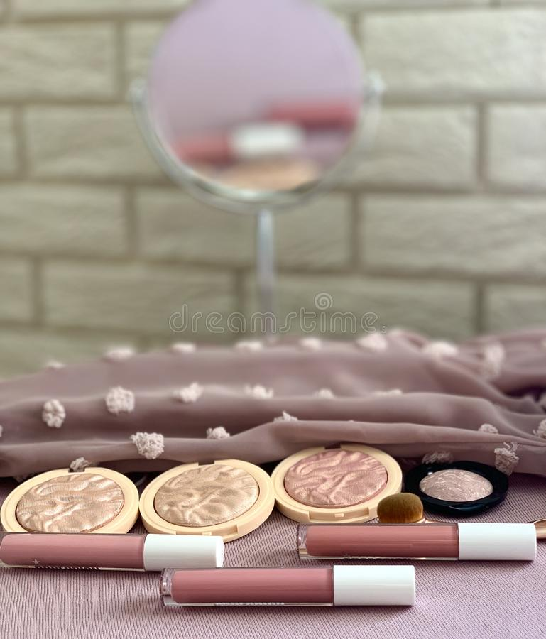 Set of decorative cosmetics. Face make-up. royalty free stock image